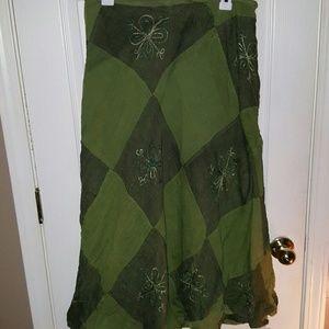 Green Patchwork Wrap Boho Hippie Skirt M-L