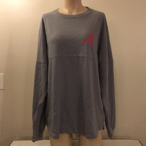 Alabama Team Support Grey Oversized Long SleeveTop