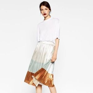 Zara Metallic Accordion Pleated Skirt TRF