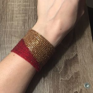 Super Fun Boho Red and Gold Beaded Cuff Bracelet