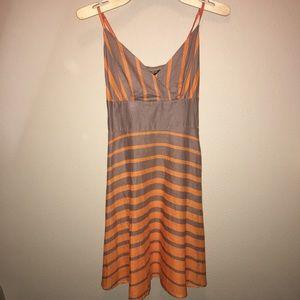 Brown and orange spaghetti strap dress
