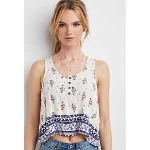 NWT Forever 21 faded floral crinkle crop top