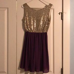 Purple and Gold Mini Formal Dress
