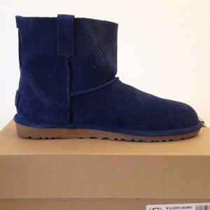 UGG Classsic Navy Suede Unilined Perf Mini Boots
