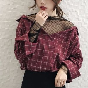 Mock Two-Piece Mesh Lace Red Plaid Top