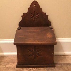 Antique Vintage Primitive Wood Receipt Box Decor