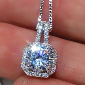 Jewelry - NWOT. Platinum-plated Square Halo Necklace