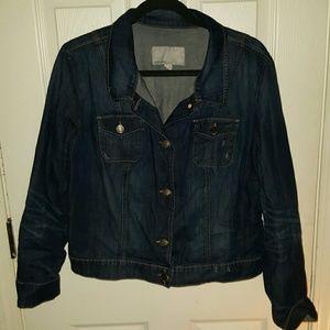 Old Navy Distressed Crop Dark Denim Jacket XL