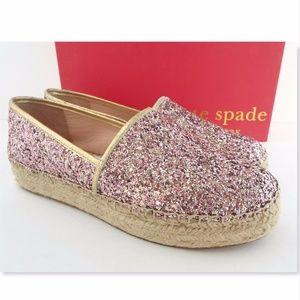 New KATE SPADE Rose Pink Glitter Espadrille Flats