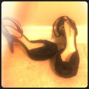 Bebe Black Satin Peep Toe Pumps