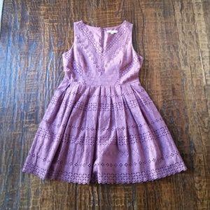 Ann Taylor Loft Lilac Eyelet Dress Size 10