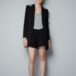 ZARA BASIC Black Spike Shoulder Blazer Jacket XS