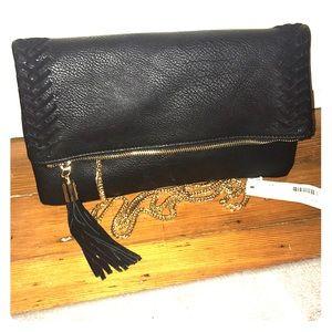 Large black faux leather clutch/shoulder bag