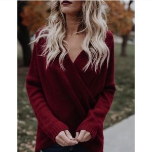Sweaters - Arriving Today!! Wrap Sweater in Wine