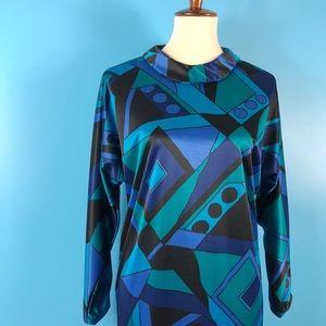 Vtg 60s Mod Geometric Psychedelic Print Dress M
