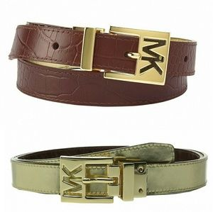 MICHAEL KORS Logo Reversible Genuine Leather Belt
