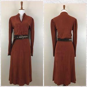 True Vintage 70's Long Sleeve V-Neck Midi Dress