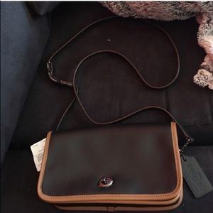 Coach black/brown saddle bag