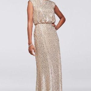 Long *Sequin* Blouson Dress, sz S, Never altered!