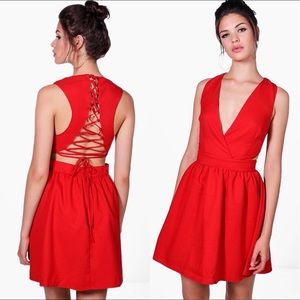 Brand New Boohoo Red Lace Up Dress