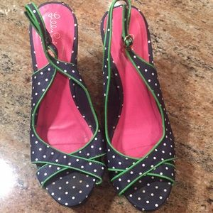 Lilly Pulitzer Navy Polka Dot Wedges - Size 8 1/2