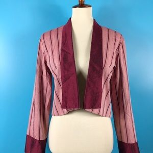 GINGER Retro Pinstriped Cropped Blazer Jacket SM