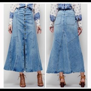 Free People Penelope Button Maxi Skirt
