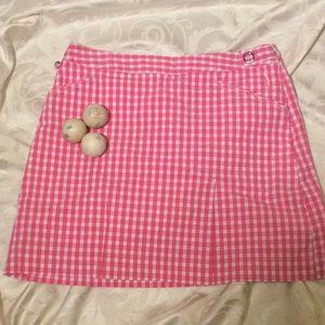 Izod Sz 4 Pink & White Check Golf Skort