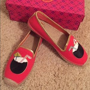 Tory Burch espadrilles smoking loafers in red