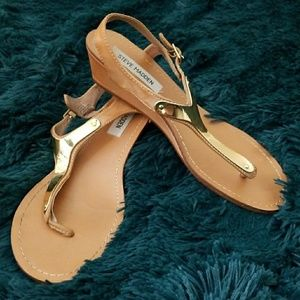 Steve Madden Brown & Gold Plated Sandals Sz 8.5