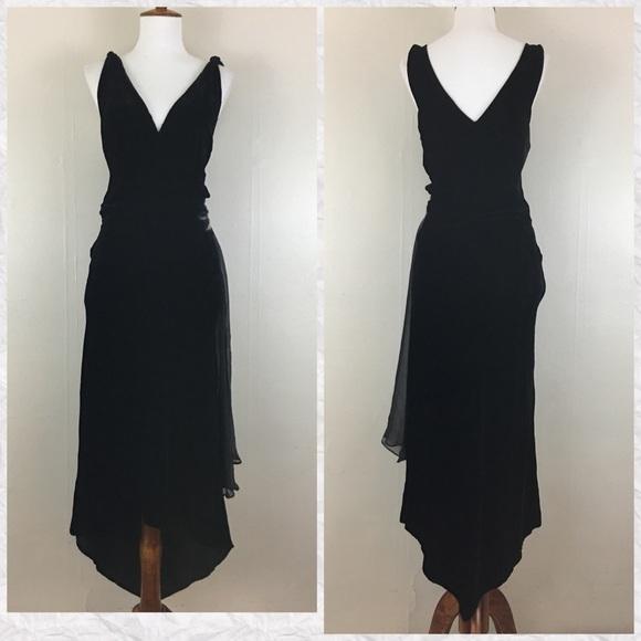 e5f2e41baad0 Vintage 80's Black Velvet V-Neck Beaded Dress. M_5a2e2881620ff735b5030aa3