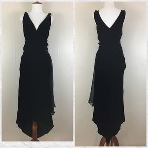 Vintage 80's Black Velvet V-Neck Beaded Dress
