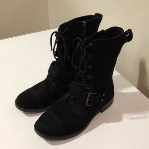 56c5e9a9b3f New Ugg Marela black suede combat boots Sz 6.5 ❤️