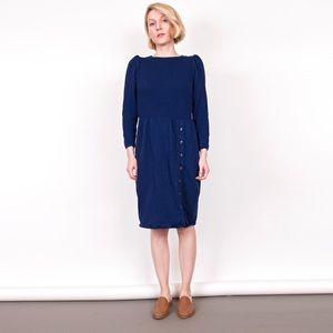 Vintage 80s St John I Magnin blue knit midi dress
