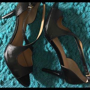 Calvin Klein Black Peep Toe Strappy Heels