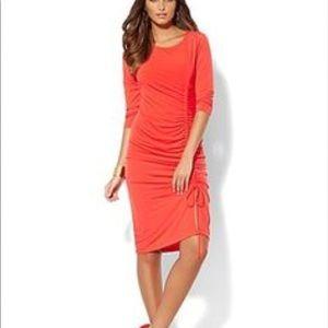 Orange Gathered Side Dress