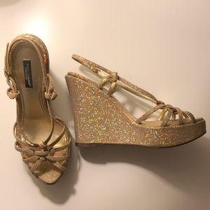 Dolce & Gabbana Gold Glitter Wedges ✨