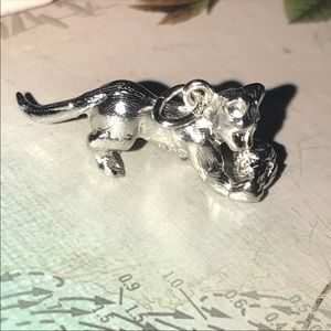 Retired (Rembrandt) Silver Playful Cat Charm