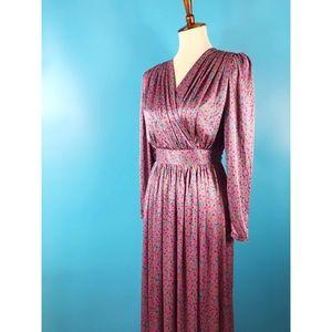 Vtg 70s Floral Empire Waist Maxi Dress M