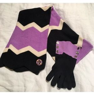 Tory Burch Scarf & Glove Set 100% Authentic