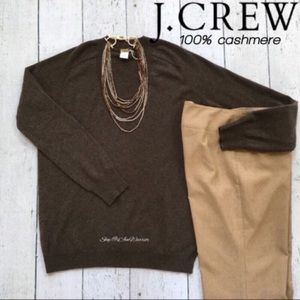 J. Crew NWT brown v-neck cashmere sweater