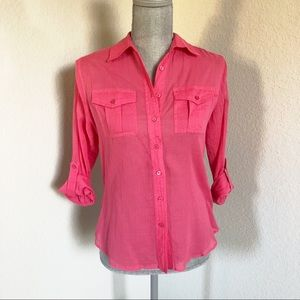 Talbots Sheer Pink Button Down Blouse Size 2