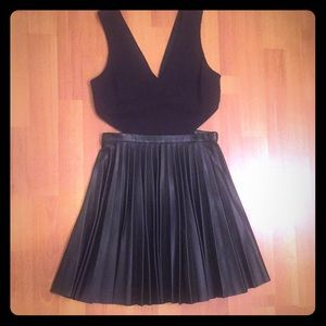 Topshop Pleated Cut Out Skater Dress