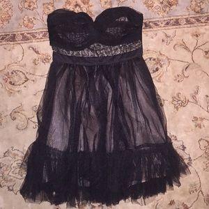 Never Been Worn Strapless Black Tulle Mini Dress