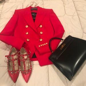 NWT Balmain Viscose Red Double Breasted Blazer 0/2