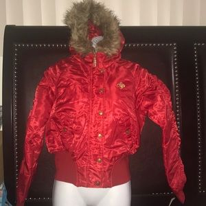 Women's juniors South Pole branded red fur jacket