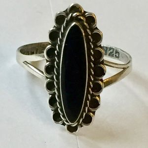 TAXCO Sterling Silver Onyx Ring Vintage 925