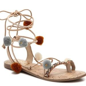 Pom detail Lace-up Sandals