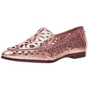 kate spade // rose gold laser-cut leather loafers