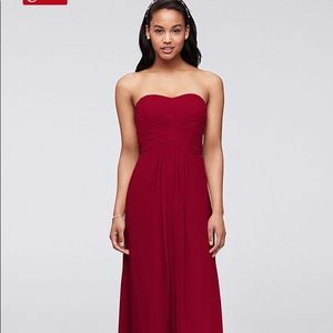 Davids Bridal Apple Red Long Bridesmaid Dress